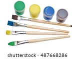 paint brushes and paint on an... | Shutterstock . vector #487668286