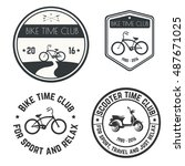 vector image logo bike and... | Shutterstock .eps vector #487671025