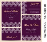 set of wedding cards with... | Shutterstock .eps vector #487680118