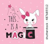 magic hat with rabbit bunny... | Shutterstock .eps vector #487685512