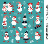 a cute snowmen collection | Shutterstock .eps vector #487686688