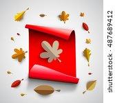 autumn papercut illustration... | Shutterstock .eps vector #487689412