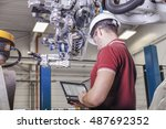 mechanical engineer with hard... | Shutterstock . vector #487692352