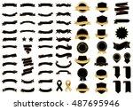 ribbon black vector icon on... | Shutterstock .eps vector #487695946