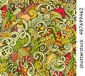 cartoon cute doodles new year... | Shutterstock .eps vector #487699462