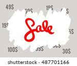 sale sign  old prices painted... | Shutterstock .eps vector #487701166