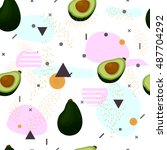 avocado.seamless pattern... | Shutterstock .eps vector #487704292