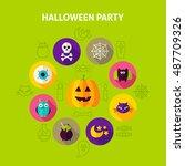 halloween party infographics...   Shutterstock .eps vector #487709326