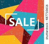 sale on bright geometric... | Shutterstock .eps vector #487710616