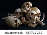 awesome pile of skull and bone... | Shutterstock . vector #487713232
