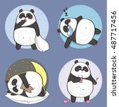 set of cute panda bear stickers ...   Shutterstock .eps vector #487717456