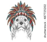 cocker in the colored indian... | Shutterstock .eps vector #487725202