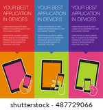 vector banner with mobile... | Shutterstock .eps vector #487729066