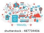 modern flat thin line design... | Shutterstock .eps vector #487734406