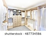 room with wooden shelves and... | Shutterstock . vector #487734586