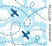 seamless pattern with airplanes ... | Shutterstock .eps vector #487737766