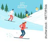 ski resort cartoon illustration.... | Shutterstock .eps vector #487739566