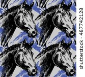 Seamless Pattern With Horses I...