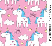 seamless cute colorful unicorn...   Shutterstock .eps vector #487747126