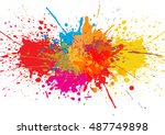 vector splatter color... | Shutterstock .eps vector #487749898