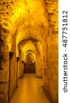 Small photo of Acre, Israel - July 4, 2016: Tunnel in the Citadel of Acre