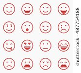 set of red emoticons  emoji and ... | Shutterstock .eps vector #487754188