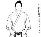 man of keikogi   monochrome   | Shutterstock .eps vector #487757116