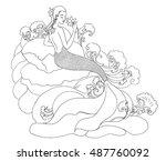 hand drawn outline mermaid | Shutterstock .eps vector #487760092