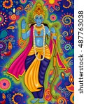 vector design of indian god... | Shutterstock .eps vector #487763038