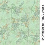 aster flower green with scribble | Shutterstock .eps vector #487769056