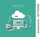 loud storage concept. vector... | Shutterstock .eps vector #487783306