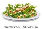 illustration of salad caesar... | Shutterstock .eps vector #487784356