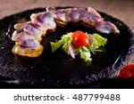 herring in vinegar  served with ... | Shutterstock . vector #487799488