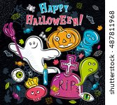 halloween greeting card with...   Shutterstock .eps vector #487811968