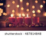 christmas decoration with... | Shutterstock . vector #487814848
