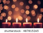 christmas decoration candle for ... | Shutterstock . vector #487815265