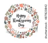 happy thanksgiving day in... | Shutterstock .eps vector #487823842