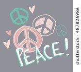 pretty pastel peace  and love   ... | Shutterstock .eps vector #487826986