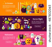 happy halloween web horizontal... | Shutterstock .eps vector #487832065