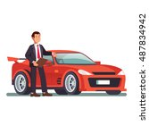 car dealer showing a new red... | Shutterstock .eps vector #487834942