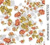 flower red rose watercolor... | Shutterstock . vector #487837732