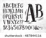 font pencil vintage alphabet... | Shutterstock .eps vector #487844116