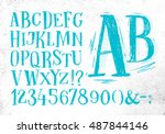 font pencil vintage hand drawn... | Shutterstock .eps vector #487844146