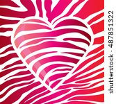 glossy red heart decorated with ... | Shutterstock .eps vector #487851322