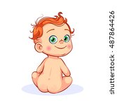 cutout vector cartoon naked... | Shutterstock .eps vector #487864426