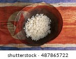 poverty concept  bowl of rice...   Shutterstock . vector #487865722