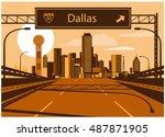 dallas skyline | Shutterstock .eps vector #487871905