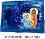 christmas religious nativity... | Shutterstock . vector #487877368