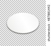 empty white oval paper plate.... | Shutterstock .eps vector #487881442