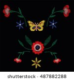 butterfly and little vintage... | Shutterstock .eps vector #487882288